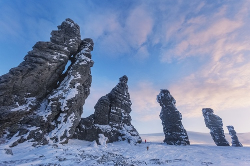 Weathering posts on Manpupuner rock formations in Komi Republic of Russia